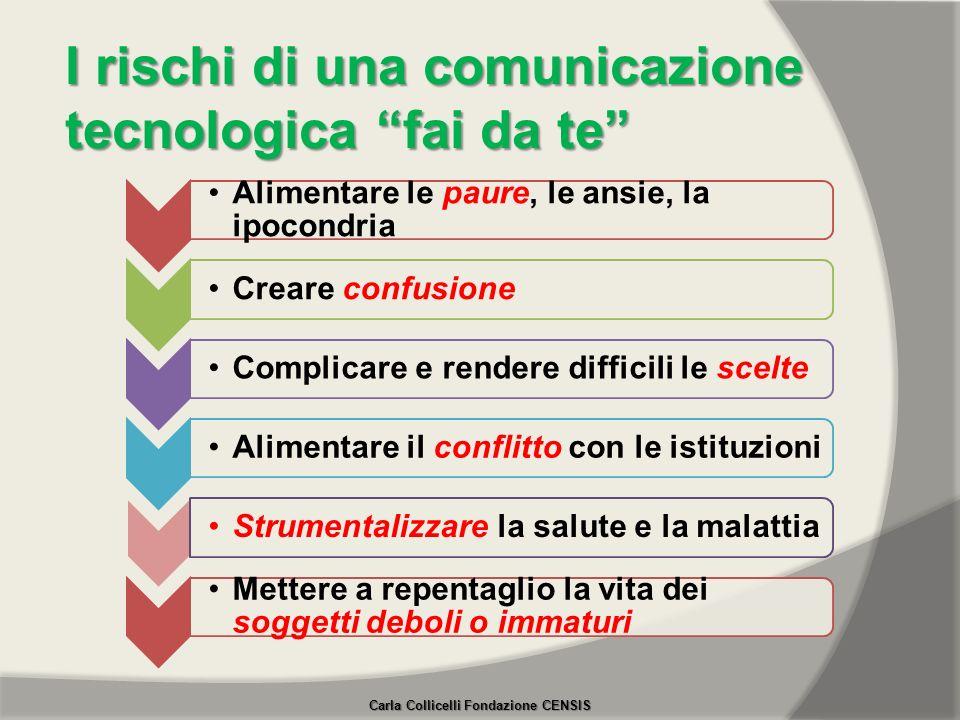 I rischi di una comunicazione tecnologica fai da te Alimentare le paure, le ansie, la ipocondria Creare confusioneComplicare e rendere difficili le sc