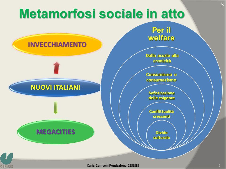 Metamorfosi sociale in atto NUOVI ITALIANI INVECCHIAMENTO MEGACITIES 3 Per il welfare Dalla acuzie alla cronicità Consumismo e consumerismo Sofisticaz