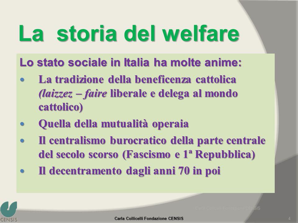 La storia del welfare Lo stato sociale in Italia ha molte anime: La tradizione della beneficenza cattolica (laizzez – faire liberale e delega al mondo