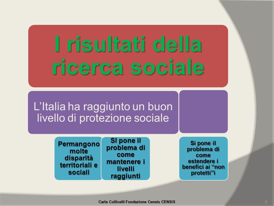 Carla Collicelli Fondazione Censis CENSIS 6 I risultati della ricerca sociale LItalia ha raggiunto un buon livello di protezione sociale Permangono mo