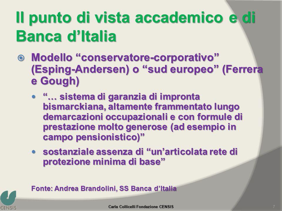 Il punto di vista accademico e di Banca dItalia Modello conservatore-corporativo (Esping-Andersen) o sud europeo (Ferrera e Gough) Modello conservator