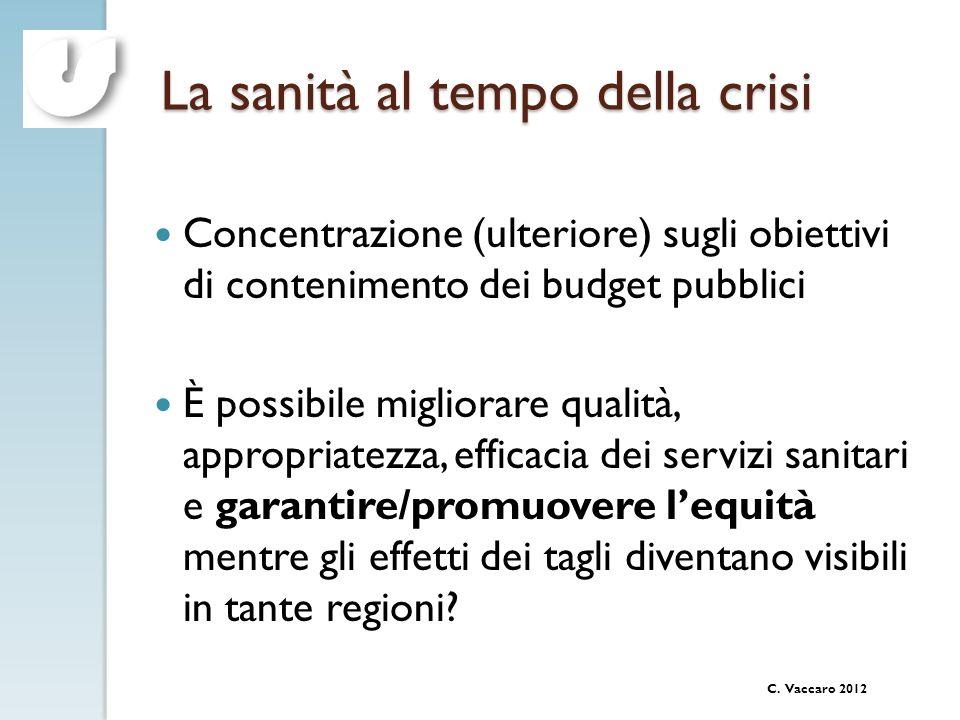 C. Vaccaro 2012 La sanità al tempo della crisi Concentrazione (ulteriore) sugli obiettivi di contenimento dei budget pubblici È possibile migliorare q