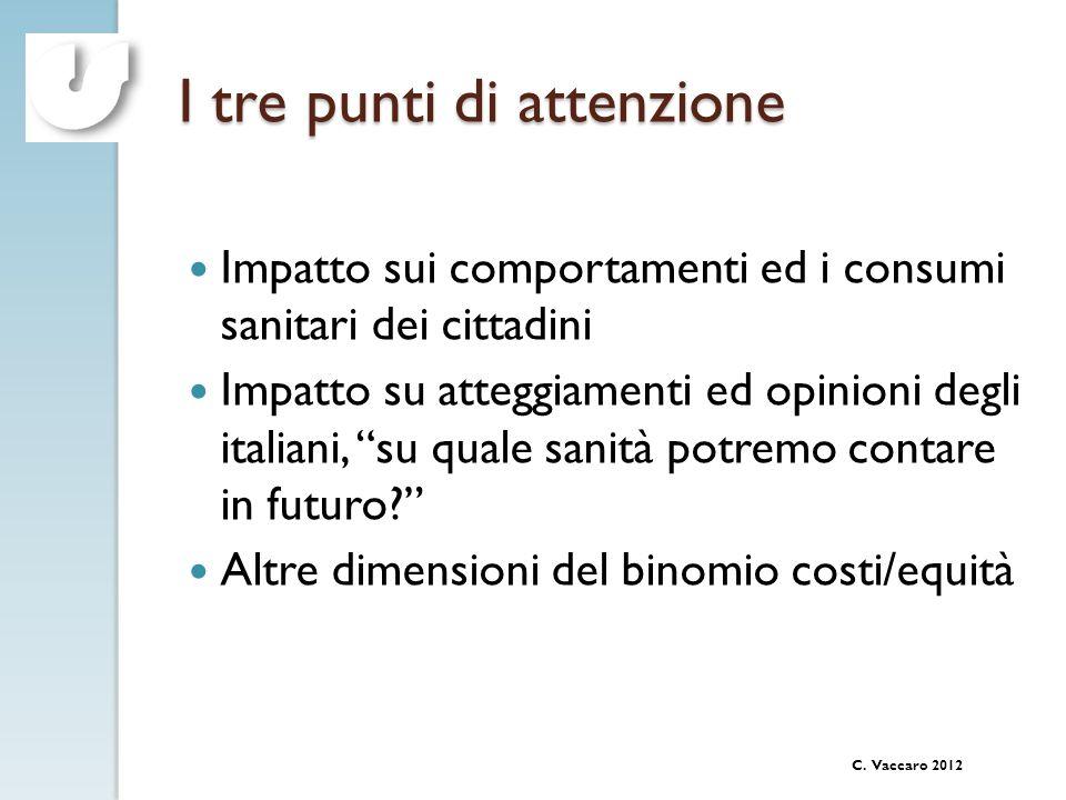 C. Vaccaro 2012 I tre punti di attenzione Impatto sui comportamenti ed i consumi sanitari dei cittadini Impatto su atteggiamenti ed opinioni degli ita
