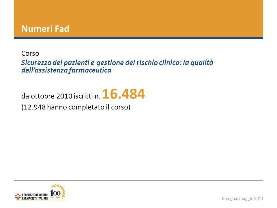 Bologna, maggio 2011 Numeri Fad Corso Sicurezza dei pazienti e gestione del rischio clinico: la qualità dellassistenza farmaceutica da ottobre 2010 iscritti n.