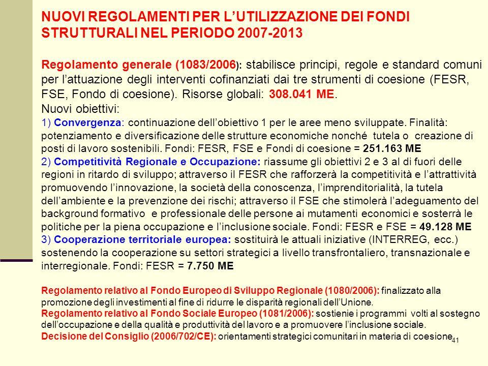 41 NUOVI REGOLAMENTI PER LUTILIZZAZIONE DEI FONDI STRUTTURALI NEL PERIODO 2007-2013 Regolamento generale (1083/2006 ): stabilisce principi, regole e standard comuni per lattuazione degli interventi cofinanziati dai tre strumenti di coesione (FESR, FSE, Fondo di coesione).