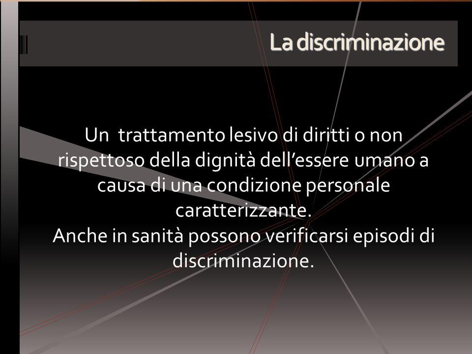 La discriminazione Un trattamento lesivo di diritti o non rispettoso della dignità dellessere umano a causa di una condizione personale caratterizzant