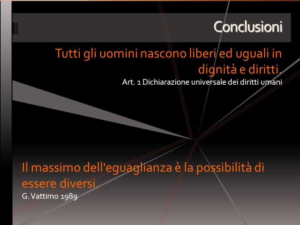 Conclusioni Tutti gli uomini nascono liberi ed uguali in dignità e diritti. Art. 1 Dichiarazione universale dei diritti umani Il massimo dell'eguaglia