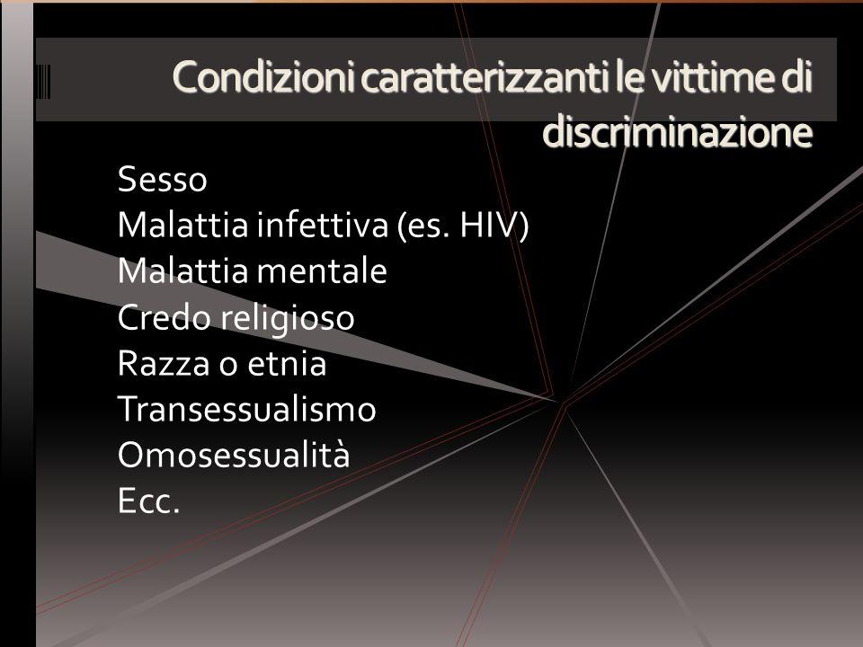 Condizioni caratterizzanti le vittime di discriminazione Sesso Malattia infettiva (es. HIV) Malattia mentale Credo religioso Razza o etnia Transessual