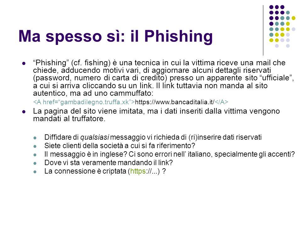 Ma spesso sì: il Phishing Phishing (cf.