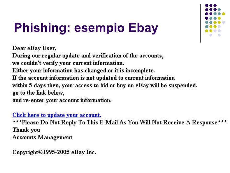 Phishing: esempio Ebay