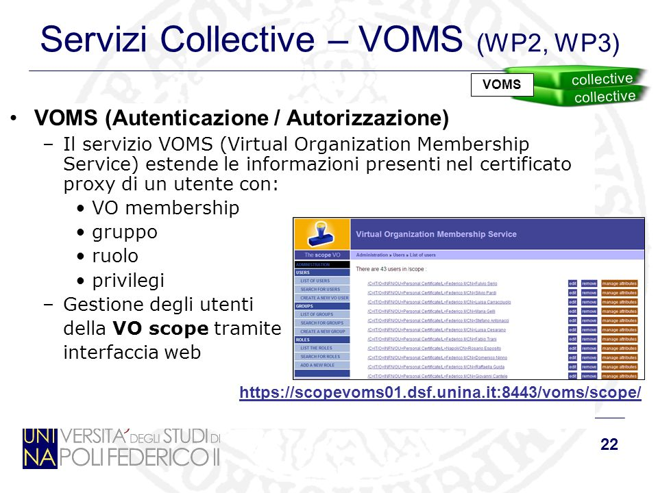22 Servizi Collective – VOMS (WP2, WP3) VOMS (Autenticazione / Autorizzazione) –Il servizio VOMS (Virtual Organization Membership Service) estende le