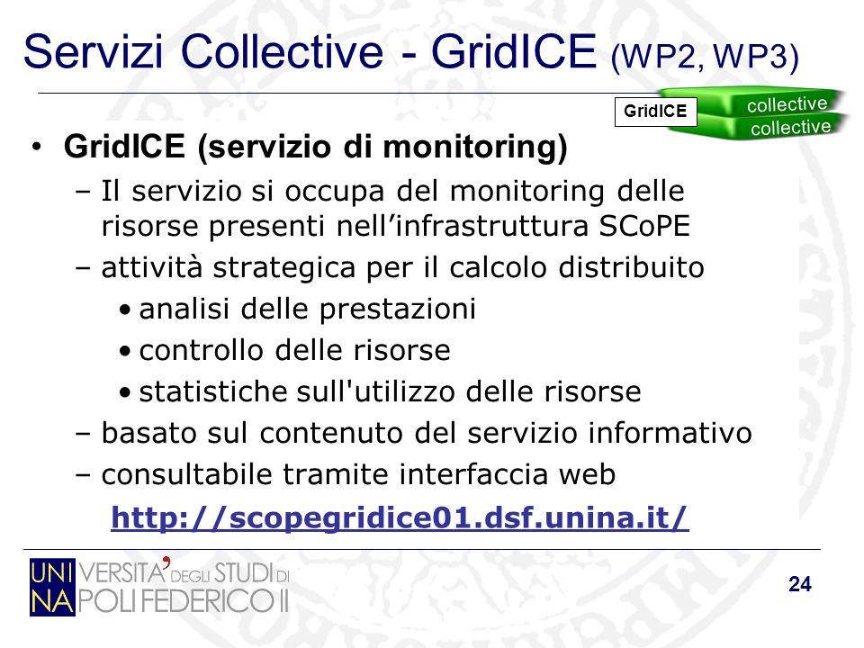 24 Servizi Collective - GridICE (WP2, WP3) GridICE (servizio di monitoring) –Il servizio si occupa del monitoring delle risorse presenti nellinfrastru