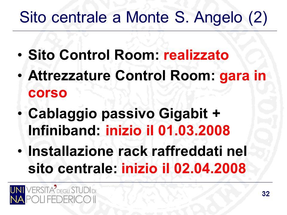 32 Sito centrale a Monte S. Angelo (2) Sito Control Room: realizzato Attrezzature Control Room: gara in corso Cablaggio passivo Gigabit + Infiniband: