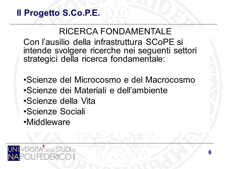 6 RICERCA FONDAMENTALE Con lausilio della infrastruttura SCoPE si intende svolgere ricerche nei seguenti settori strategici della ricerca fondamentale