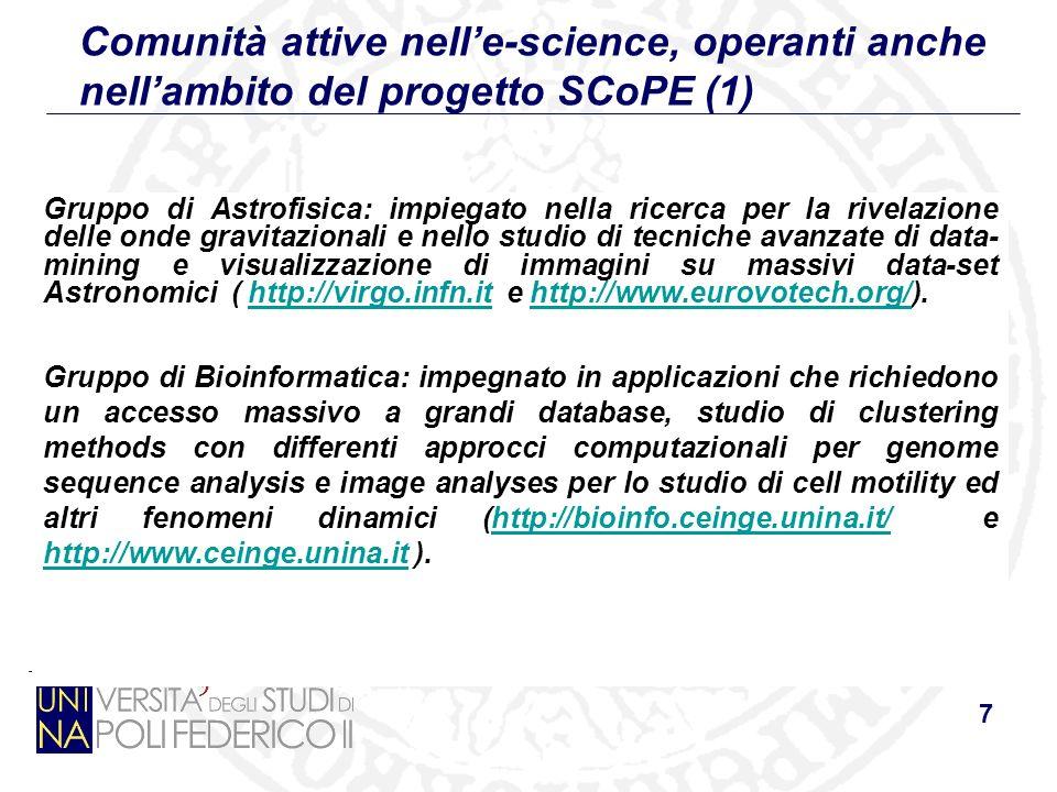 7 Comunità attive nelle-science, operanti anche nellambito del progetto SCoPE (1) Gruppo di Astrofisica: impiegato nella ricerca per la rivelazione de