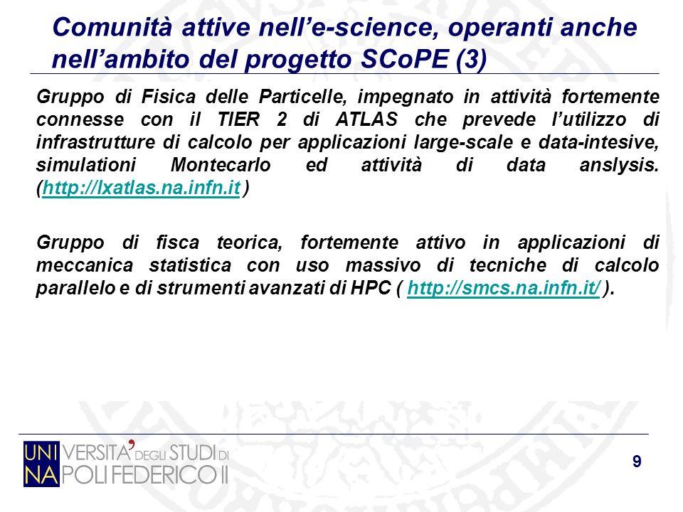 9 Comunità attive nelle-science, operanti anche nellambito del progetto SCoPE (3) Gruppo di Fisica delle Particelle, impegnato in attività fortemente