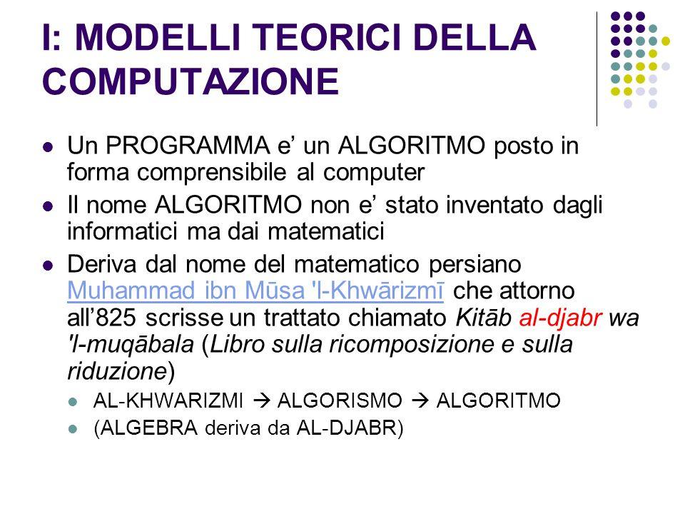 I: MODELLI TEORICI DELLA COMPUTAZIONE Un PROGRAMMA e un ALGORITMO posto in forma comprensibile al computer Il nome ALGORITMO non e stato inventato dag