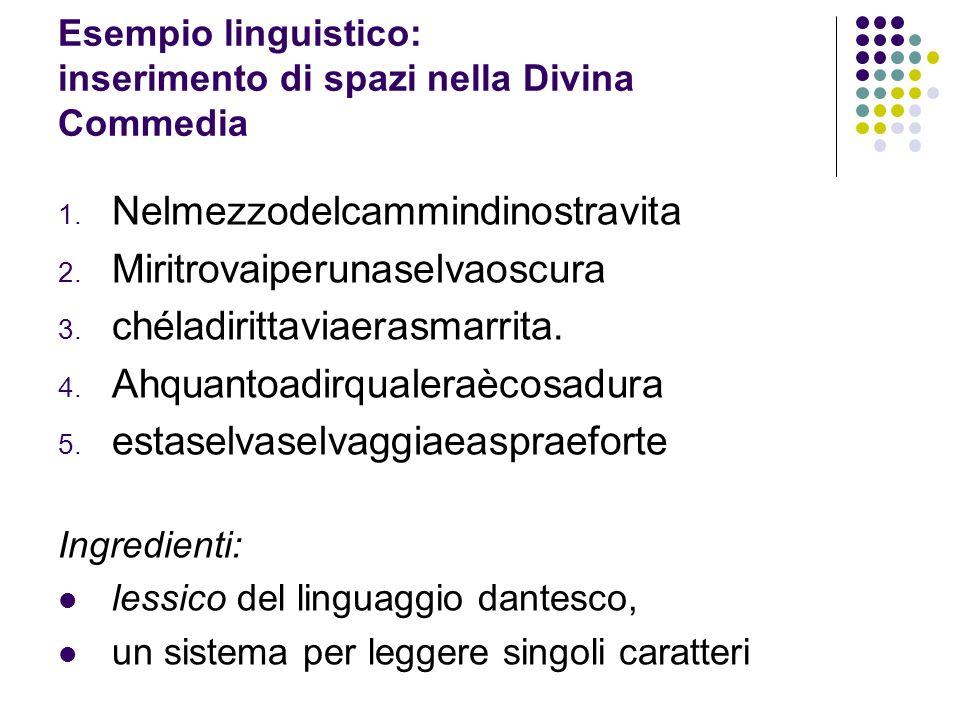 Esempio linguistico: inserimento di spazi nella Divina Commedia 1. Nelmezzodelcammindinostravita 2. Miritrovaiperunaselvaoscura 3. chéladirittaviaeras