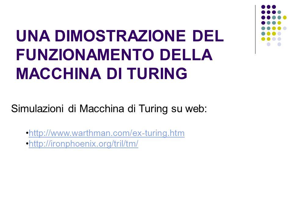 UNA DIMOSTRAZIONE DEL FUNZIONAMENTO DELLA MACCHINA DI TURING Simulazioni di Macchina di Turing su web: http://www.warthman.com/ex-turing.htm http://ir