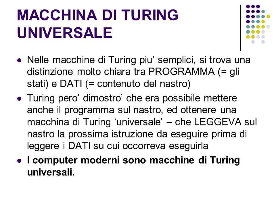 MACCHINA DI TURING UNIVERSALE Nelle macchine di Turing piu semplici, si trova una distinzione molto chiara tra PROGRAMMA (= gli stati) e DATI (= conte