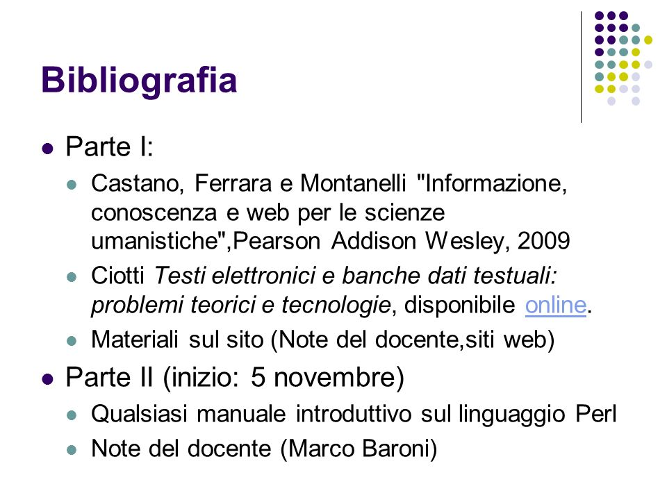 Bibliografia Parte I: Castano, Ferrara e Montanelli