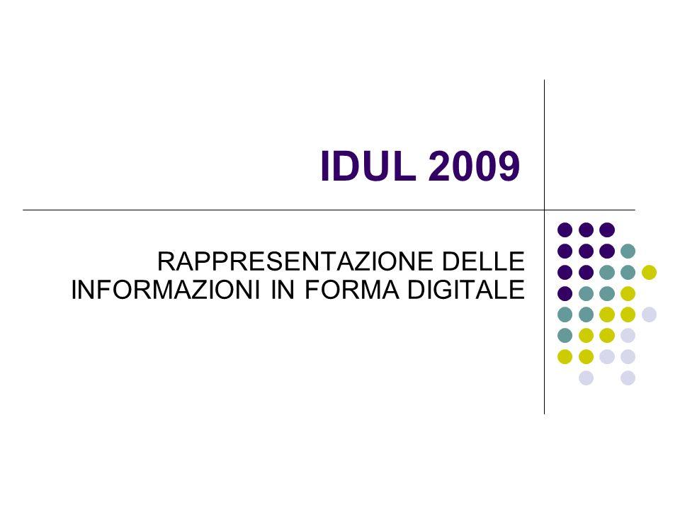 IDUL 2009 RAPPRESENTAZIONE DELLE INFORMAZIONI IN FORMA DIGITALE
