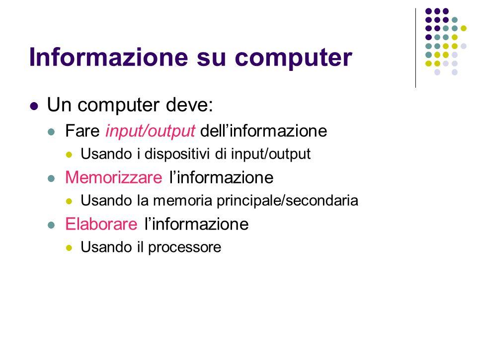 Informazione su computer Un computer deve: Fare input/output dellinformazione Usando i dispositivi di input/output Memorizzare linformazione Usando la