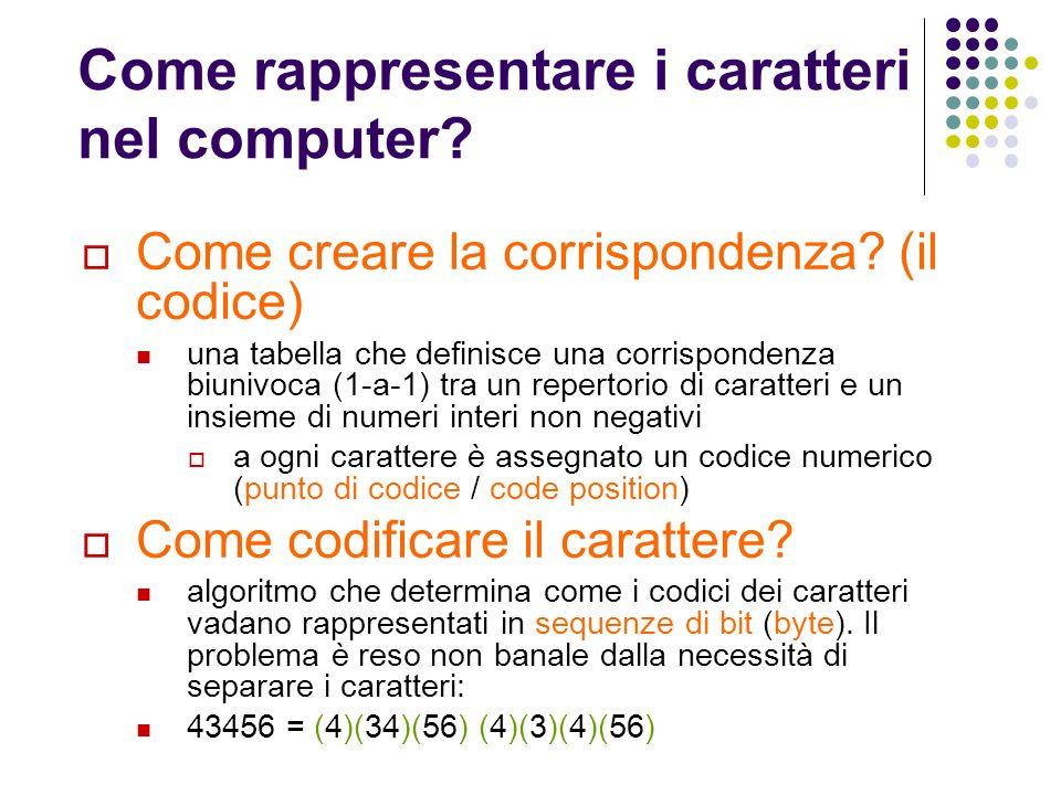 Come rappresentare i caratteri nel computer? Come creare la corrispondenza? (il codice) una tabella che definisce una corrispondenza biunivoca (1-a-1)