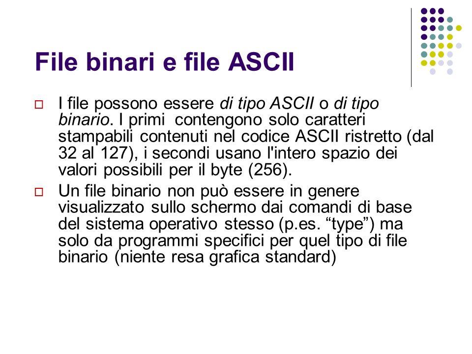 File binari e file ASCII I file possono essere di tipo ASCII o di tipo binario. I primi contengono solo caratteri stampabili contenuti nel codice ASCI