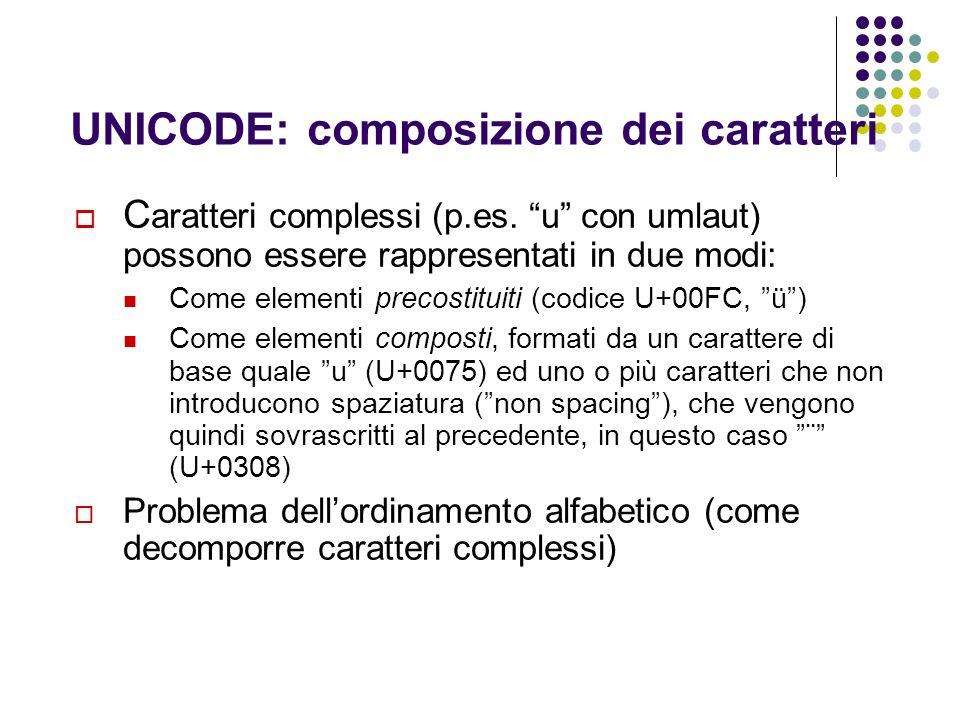 UNICODE: composizione dei caratteri C aratteri complessi (p.es. u con umlaut) possono essere rappresentati in due modi: Come elementi precostituiti (c
