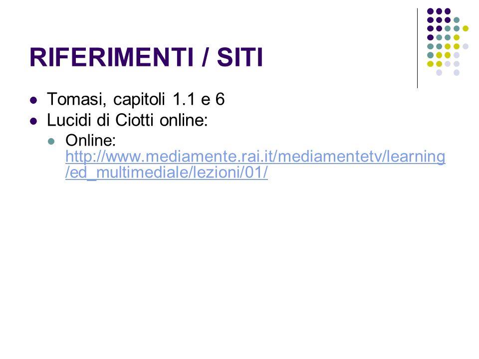 RIFERIMENTI / SITI Tomasi, capitoli 1.1 e 6 Lucidi di Ciotti online: Online: http://www.mediamente.rai.it/mediamentetv/learning /ed_multimediale/lezio
