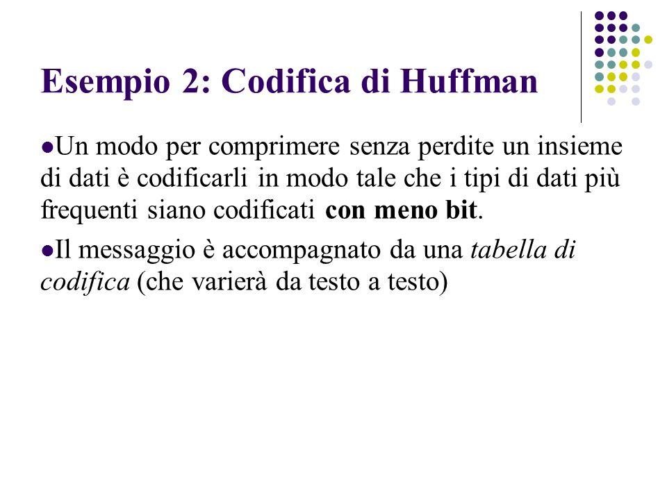 Esempio 2: Codifica di Huffman Un modo per comprimere senza perdite un insieme di dati è codificarli in modo tale che i tipi di dati più frequenti sia