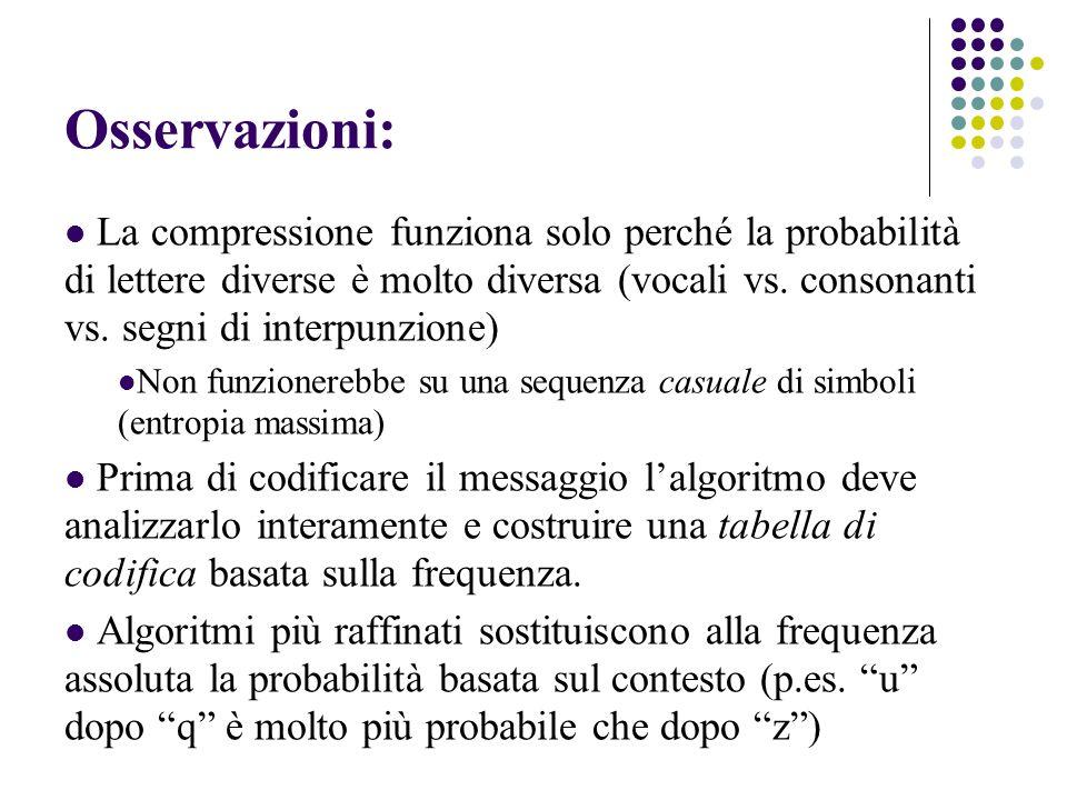 Osservazioni: La compressione funziona solo perché la probabilità di lettere diverse è molto diversa (vocali vs. consonanti vs. segni di interpunzione
