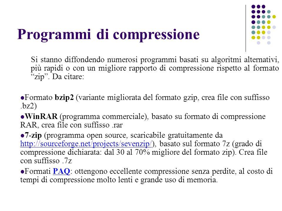 Programmi di compressione Si stanno diffondendo numerosi programmi basati su algoritmi alternativi, più rapidi o con un migliore rapporto di compressi