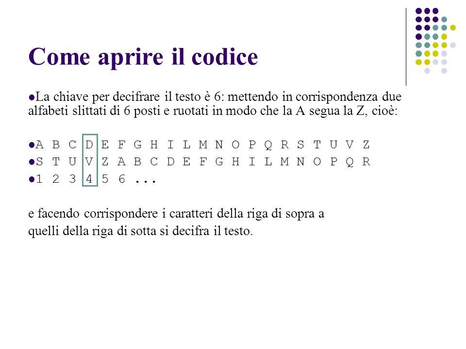Come aprire il codice La chiave per decifrare il testo è 6: mettendo in corrispondenza due alfabeti slittati di 6 posti e ruotati in modo che la A seg