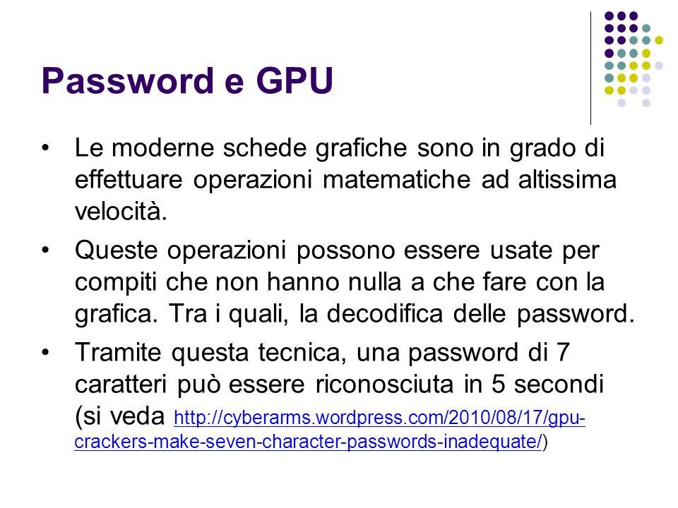 Password e GPU Le moderne schede grafiche sono in grado di effettuare operazioni matematiche ad altissima velocità. Queste operazioni possono essere u