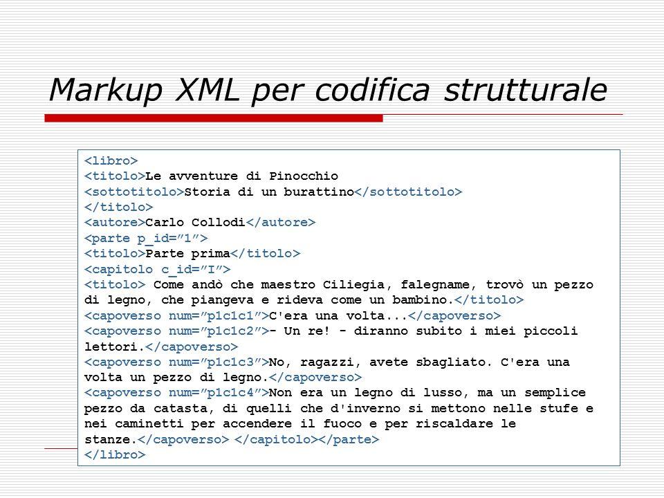 Markup XML per codifica strutturale Le avventure di Pinocchio Storia di un burattino Carlo Collodi Parte prima Come andò che maestro Ciliegia, falegna