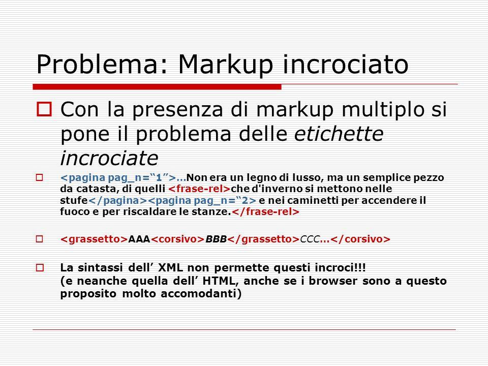 Problema: Markup incrociato Con la presenza di markup multiplo si pone il problema delle etichette incrociate …Non era un legno di lusso, ma un sempli