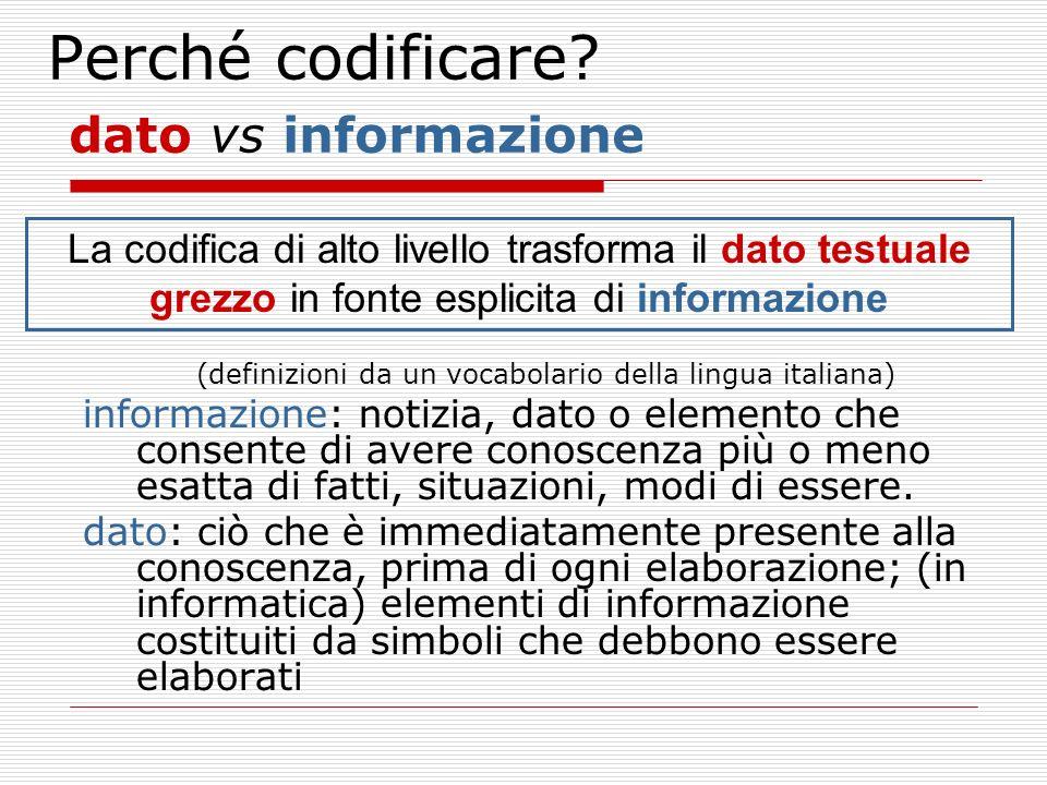 Perché codificare? dato vs informazione La codifica di alto livello trasforma il dato testuale grezzo in fonte esplicita di informazione (definizioni