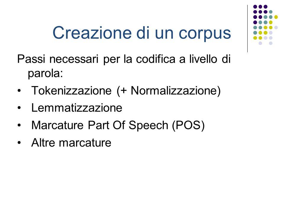 Creazione di un corpus Passi necessari per la codifica a livello di parola: Tokenizzazione (+ Normalizzazione) Lemmatizzazione Marcature Part Of Speech (POS) Altre marcature