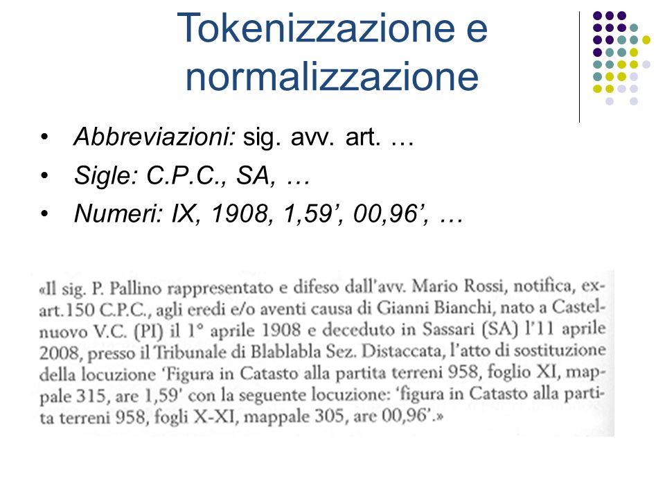 Tokenizzazione e normalizzazione Abbreviazioni: sig.
