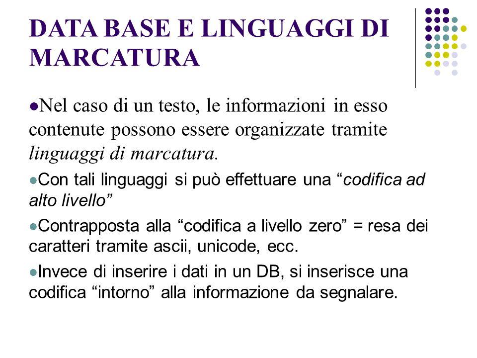 DATA BASE E LINGUAGGI DI MARCATURA Nel caso di un testo, le informazioni in esso contenute possono essere organizzate tramite linguaggi di marcatura.