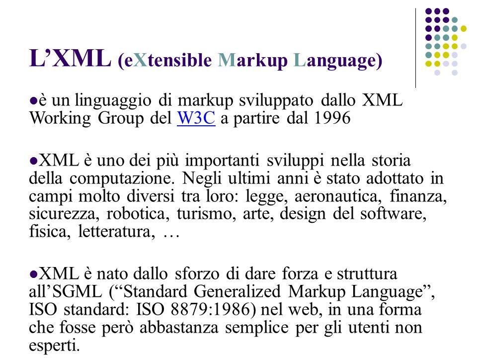 LXML (eXtensible Markup Language) è un linguaggio di markup sviluppato dallo XML Working Group del W3C a partire dal 1996W3C XML è uno dei più importanti sviluppi nella storia della computazione.