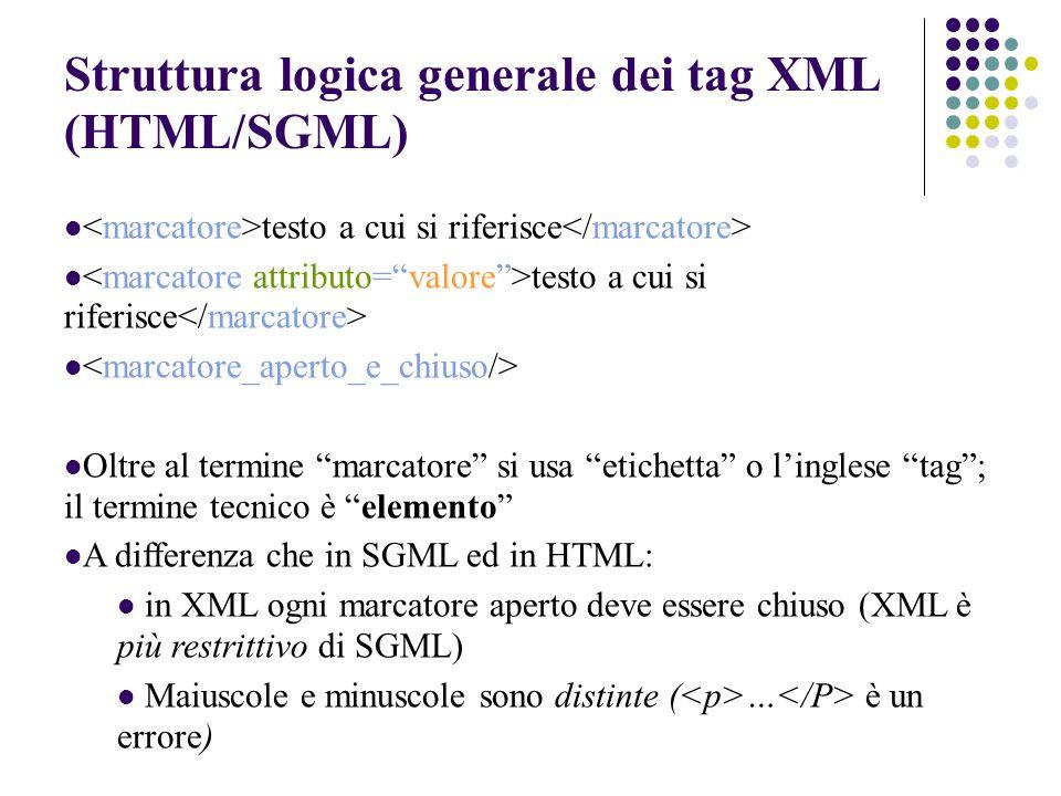Struttura logica generale dei tag XML (HTML/SGML) testo a cui si riferisce Oltre al termine marcatore si usa etichetta o linglese tag; il termine tecnico è elemento A differenza che in SGML ed in HTML: in XML ogni marcatore aperto deve essere chiuso (XML è più restrittivo di SGML) Maiuscole e minuscole sono distinte ( … è un errore)