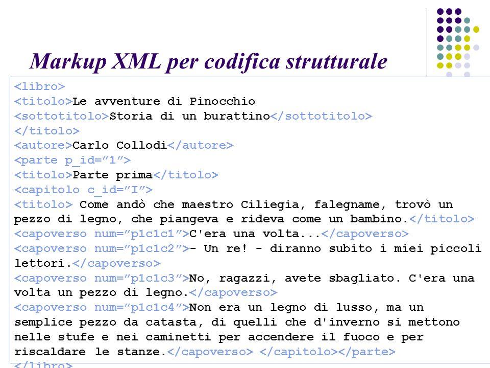 Markup XML per codifica strutturale Le avventure di Pinocchio Storia di un burattino Carlo Collodi Parte prima Come andò che maestro Ciliegia, falegname, trovò un pezzo di legno, che piangeva e rideva come un bambino.