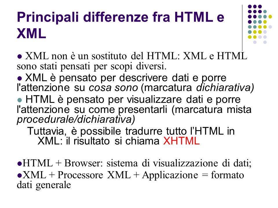 XML non è un sostituto del HTML: XML e HTML sono stati pensati per scopi diversi.
