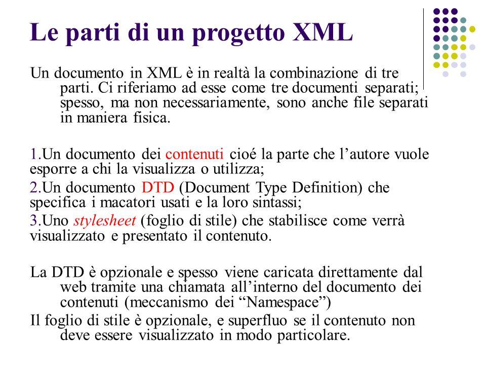 Le parti di un progetto XML Un documento in XML è in realtà la combinazione di tre parti.