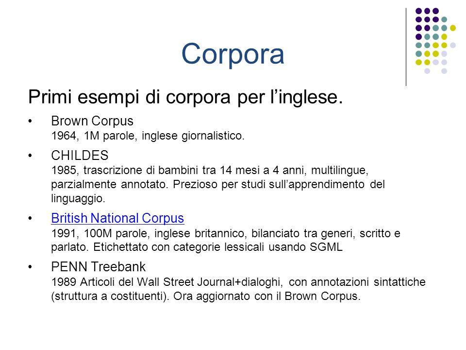 Corpora Primi esempi di corpora per linglese. Brown Corpus 1964, 1M parole, inglese giornalistico.