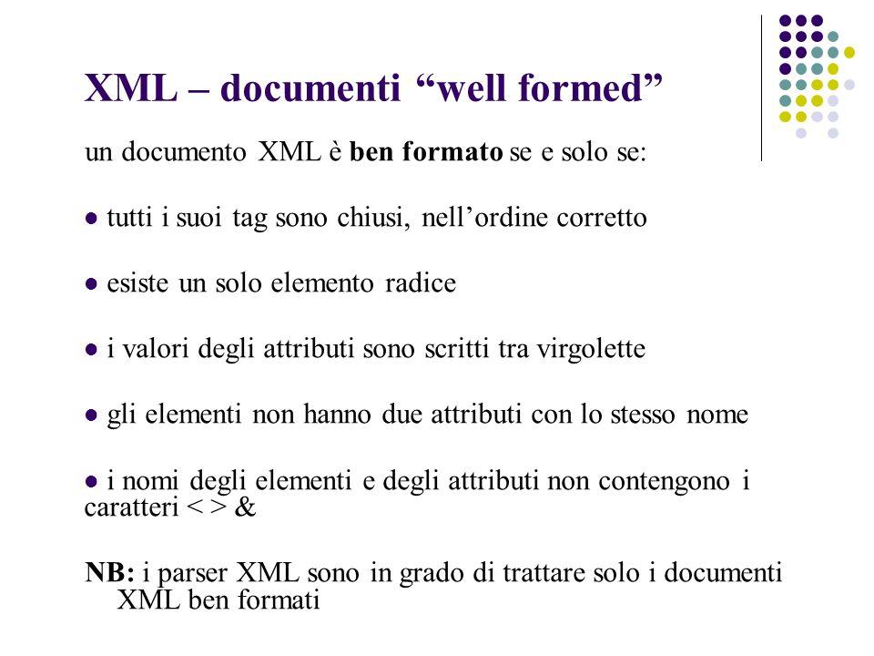 XML – documenti well formed un documento XML è ben formato se e solo se: tutti i suoi tag sono chiusi, nellordine corretto esiste un solo elemento radice i valori degli attributi sono scritti tra virgolette gli elementi non hanno due attributi con lo stesso nome i nomi degli elementi e degli attributi non contengono i caratteri & NB: i parser XML sono in grado di trattare solo i documenti XML ben formati