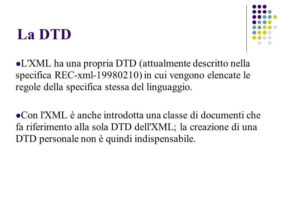 La DTD L XML ha una propria DTD (attualmente descritto nella specifica REC-xml-19980210) in cui vengono elencate le regole della specifica stessa del linguaggio.
